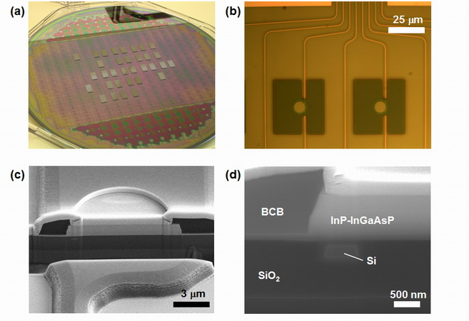 Fabricated thin-film miocrodisk laser, integrated on SOI waveguide platform